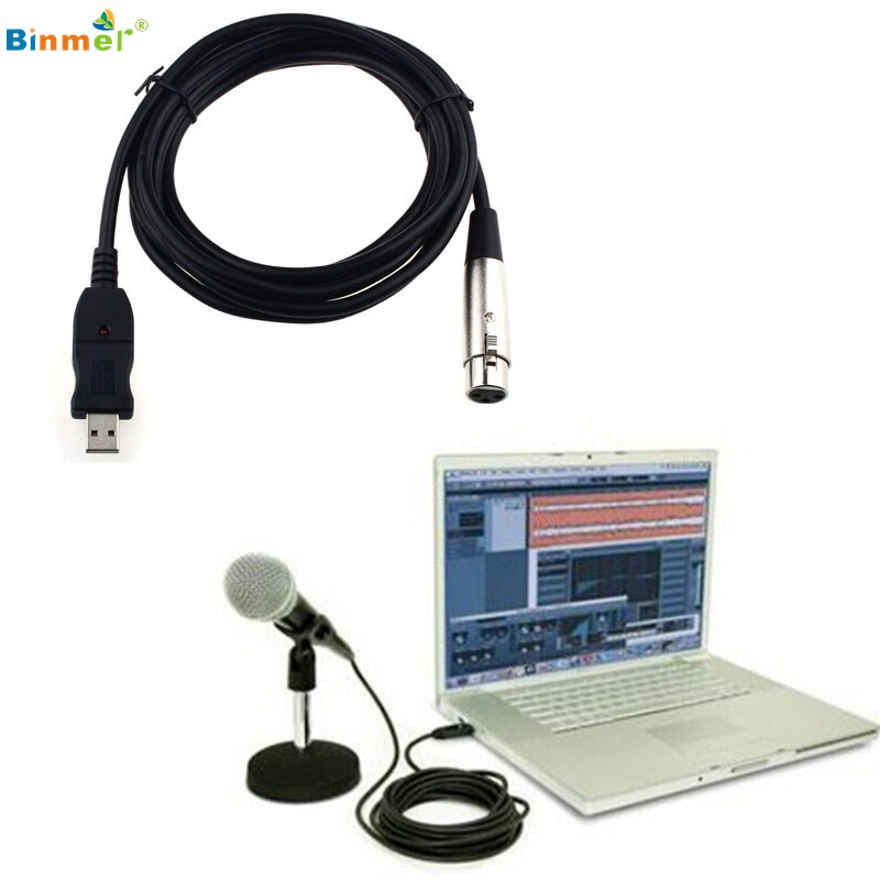 binmer superior quality xlr female to usb male 3m 9ft black cable cord adapter microphone link. Black Bedroom Furniture Sets. Home Design Ideas
