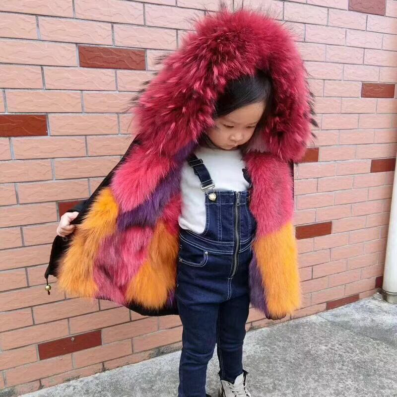 Kids Fox Fur Jacket Boys Girls Winter Parkas Natural Raccoon fur collar Coat Outerwear jacket Thick Children Real Fur Coat TZ92