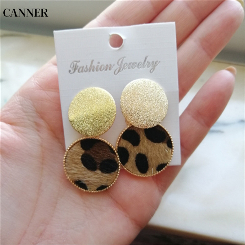 Canner Vintage Colorful Leopard Dangle Earrings For Women Gold Round Geometric Circle Drop Earring Female Wedding Jewelry W4