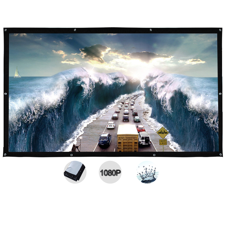 120 Inch 16:9 White Portable Fold Fabric Projection Screen for Home HD Projector