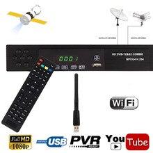 Full HD T2 del DVB S2 Decodificador Combo + wifi Receptor de Satélite IKS Youtube Cccam Biss Clave Poder Vu Satélite Terrestre Combo TV caja