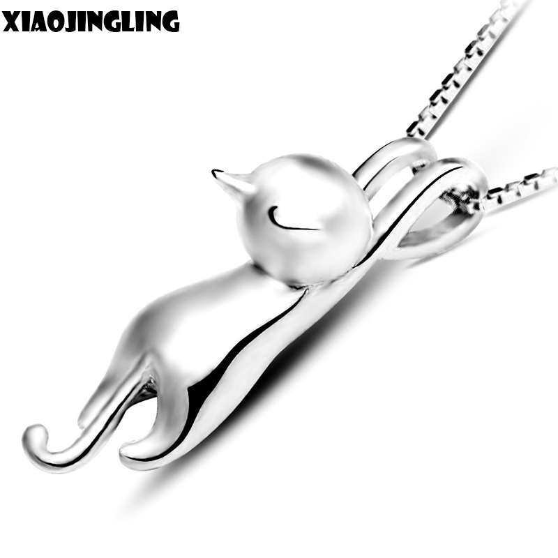 XIAOJINGLING Women Pretty Jewelry Gifts Solid <font><b>Lovely</b></font> <font><b>Smooth</b></font> Cat Pendant Climbing Naughty Animal Charm Necklace High Quality
