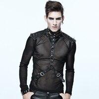 Punk De Mode Hommes de cuir noir pu Cou collier ceinture Boucle Corps ceinture de maintien rivets en métal Ceintures Vêtements Nécessaire