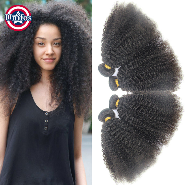 Virgin Peruvian Afro Kinky Curly Hair Extensions 4 Pcs Afro Kinky