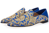 Hot Selling Gold Blue Canvas Embroidery Loafers Men Slip On Flats Party Shoes