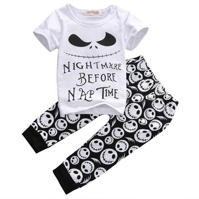 fb465888c864 2PCS Set Newborn Toddler Kids Baby Boys Clothes Set Skull Outfits ...