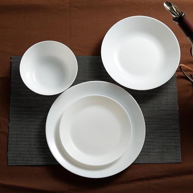 Wholesale 6 pcs/lot White Opal Glass Porcelain Flat Plates Dinner ...