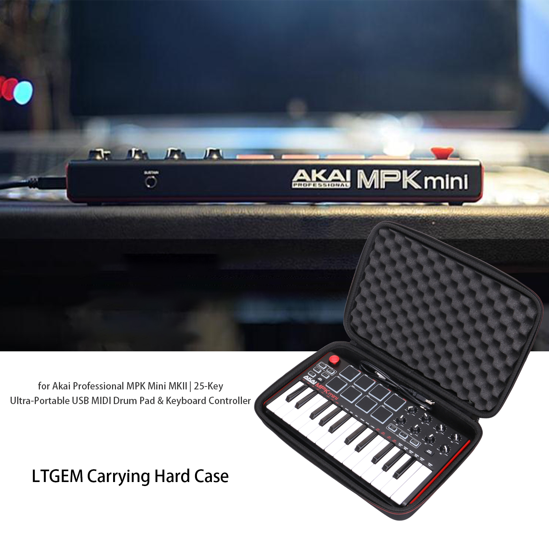 LTGEM Hard Carrying Case For Akai Professional MPK Mini MKII & MPK Mini Play | 25-Key USB MIDI Drum Pad & Keyboard Controller