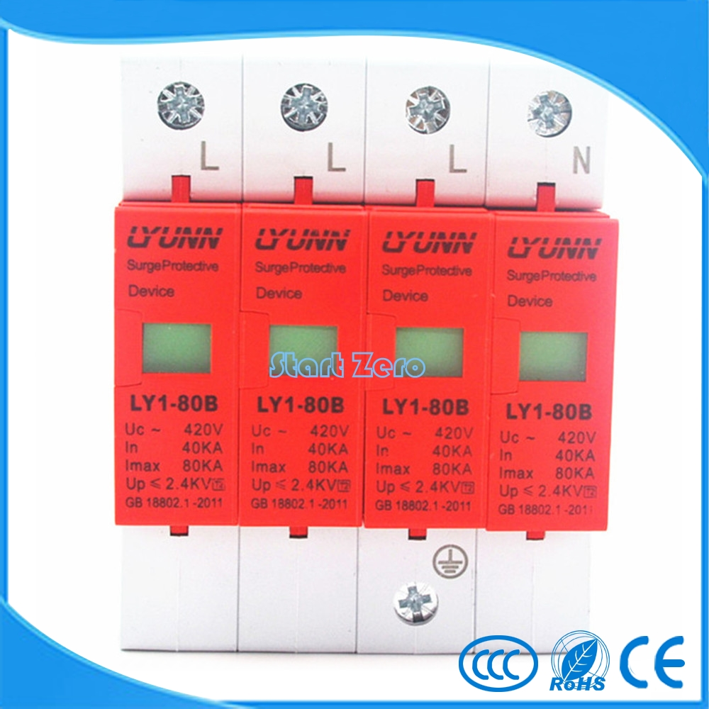high quality 4P SPD 420V 40KA~80KA House Surge Protector Protective Low-voltage Arrester Device 3P+Nhigh quality 4P SPD 420V 40KA~80KA House Surge Protector Protective Low-voltage Arrester Device 3P+N