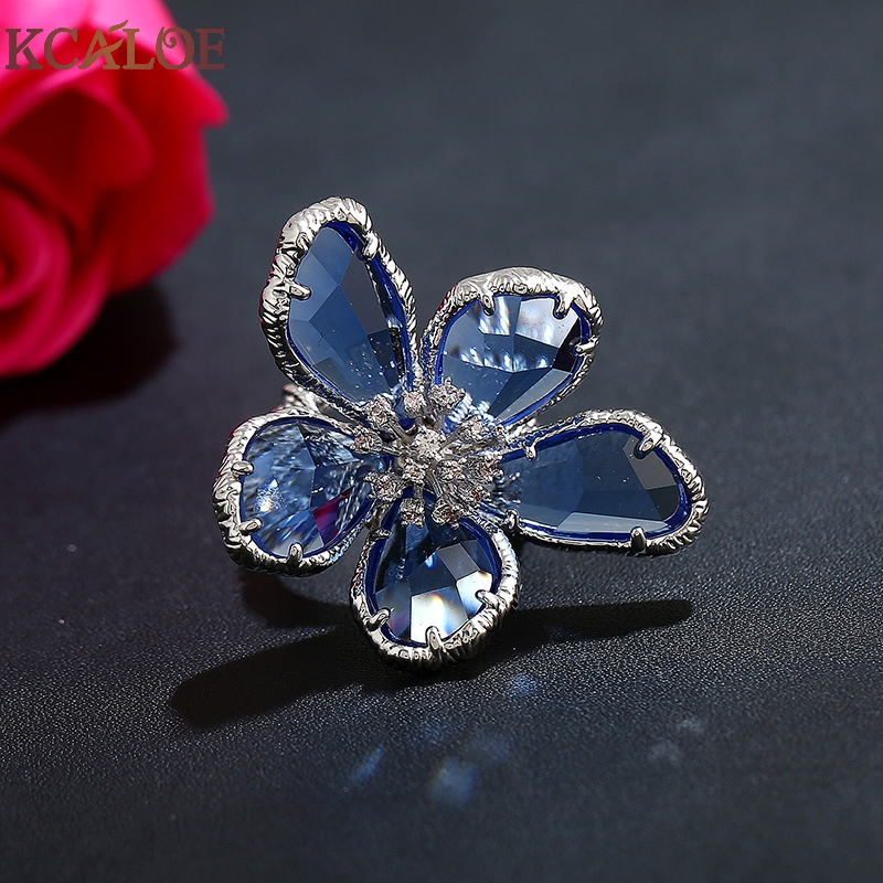 KCALOE Lyx Blå Transparent Crystal Stora Blommor Ringar För Kvinnor - Märkessmycken - Foto 3