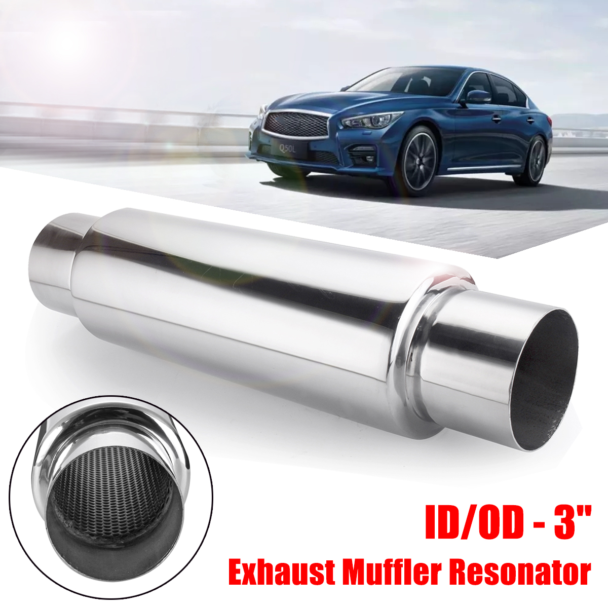 Universal 3 Inlet 3 Outlet Car Exhaust Tip Tail Pipe Muffler Auto Rear Tube Angle Cut