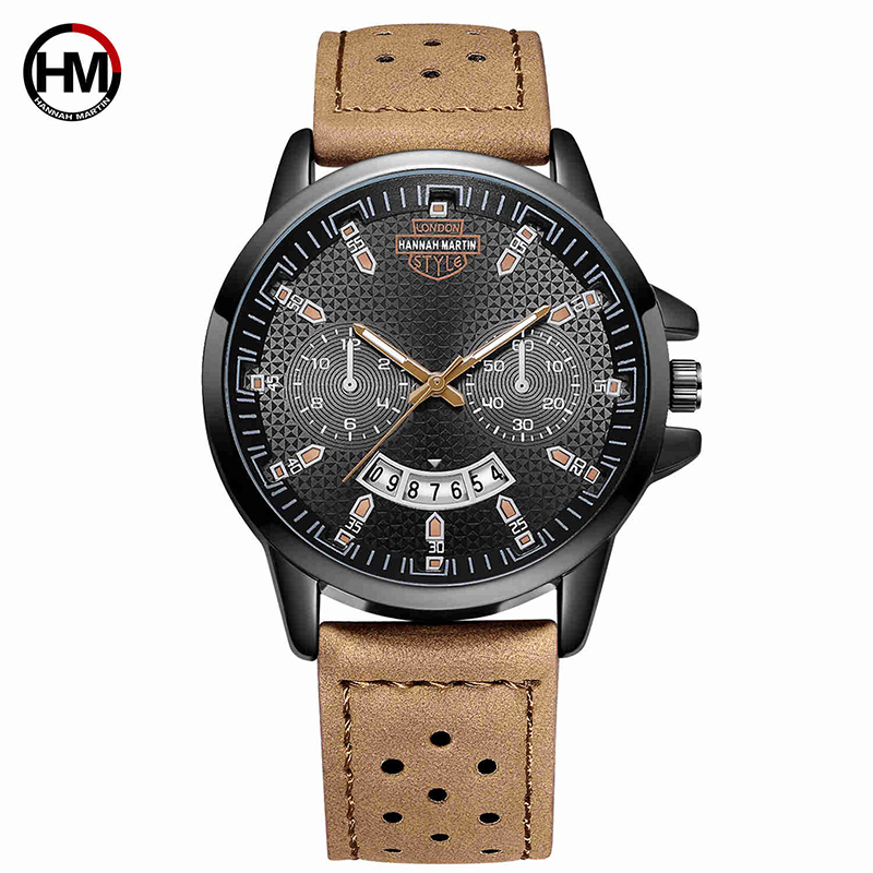 HM Black Sport Man Watch Quartz Faux Leather Stainless Date 2 Eyes Waterproof Wristwatch Big Dial Military Quality A Best Sell