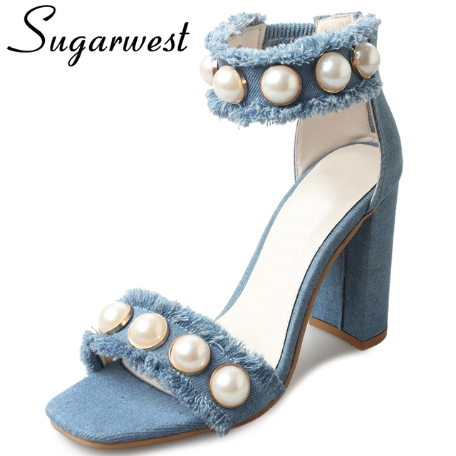 bcde34a2b5e90 Sugarwest 2017 Sandale D été Jeans Haute Talons Chaussures Femme Perle Denim  Partie Gladiateur Sandales