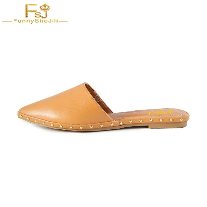 Casa Caqui 4 Negro Zapatos De Mujer Causal Pisos Zapatillas Mulas Fsj01 Bota fsj02 Cuero Remache Señoras Sandalias Zapatilla qrZOxrX