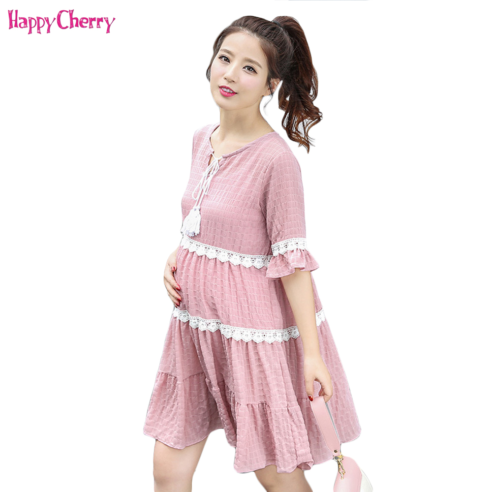 Happy Cherry Maternity Dress Chiffon Short Sleeve Pregnant Women Lace Clothing Large Size Loose Clothes For Pregnancy 3 Colors