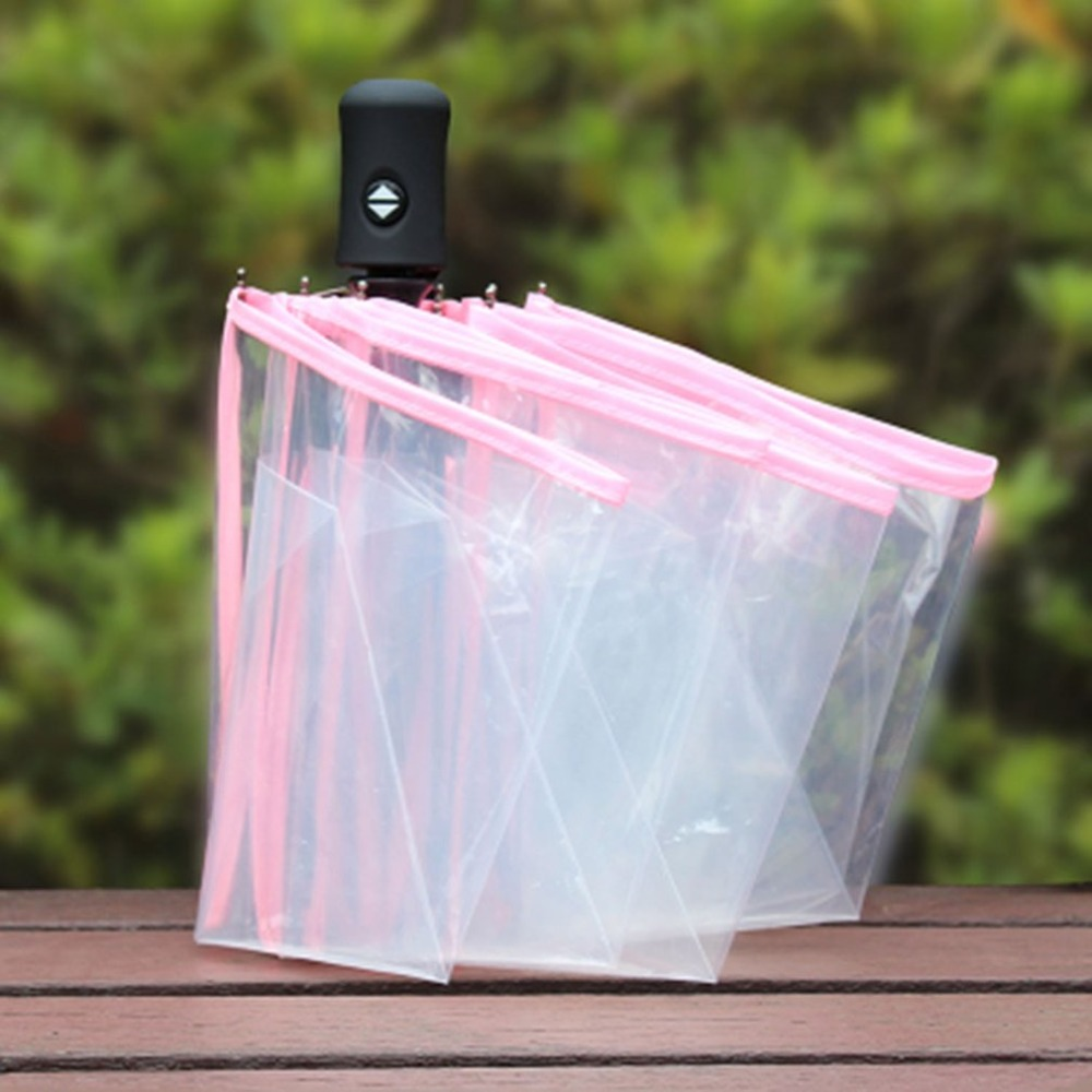 3 Colors Fully Automatic Umbrella Three Folding Clear Windproof Umbrellas Women Men 8 Rib Rainproof Transparent Umbrella GiftHot