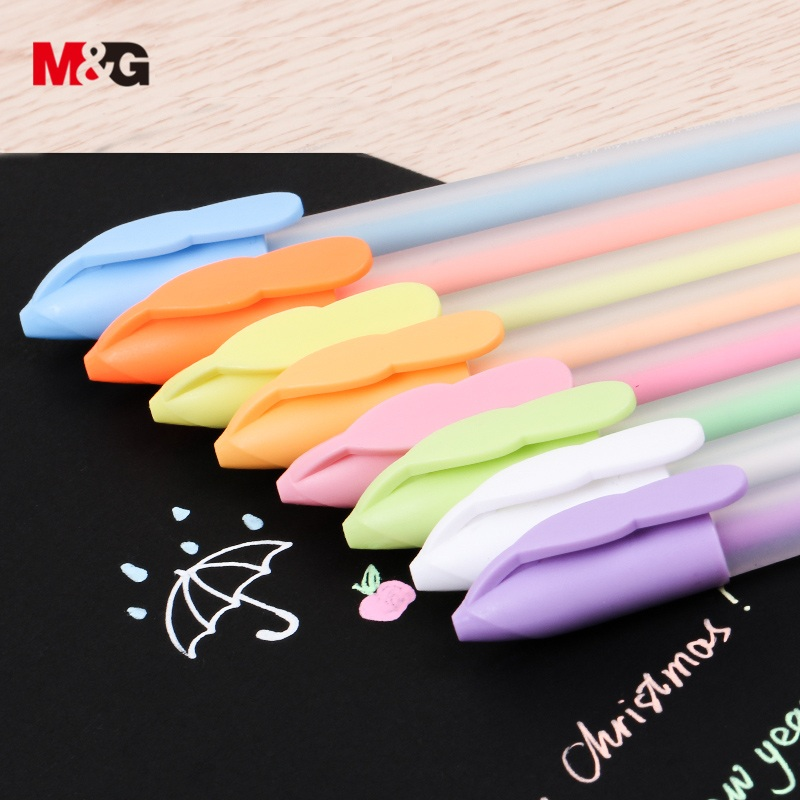 M&G 8 Colors/set Pastel Color Gel Pen Set White Ink Colors Pens Sketch Cute Kawaii Art Marker Pen Stationery For School Supplies