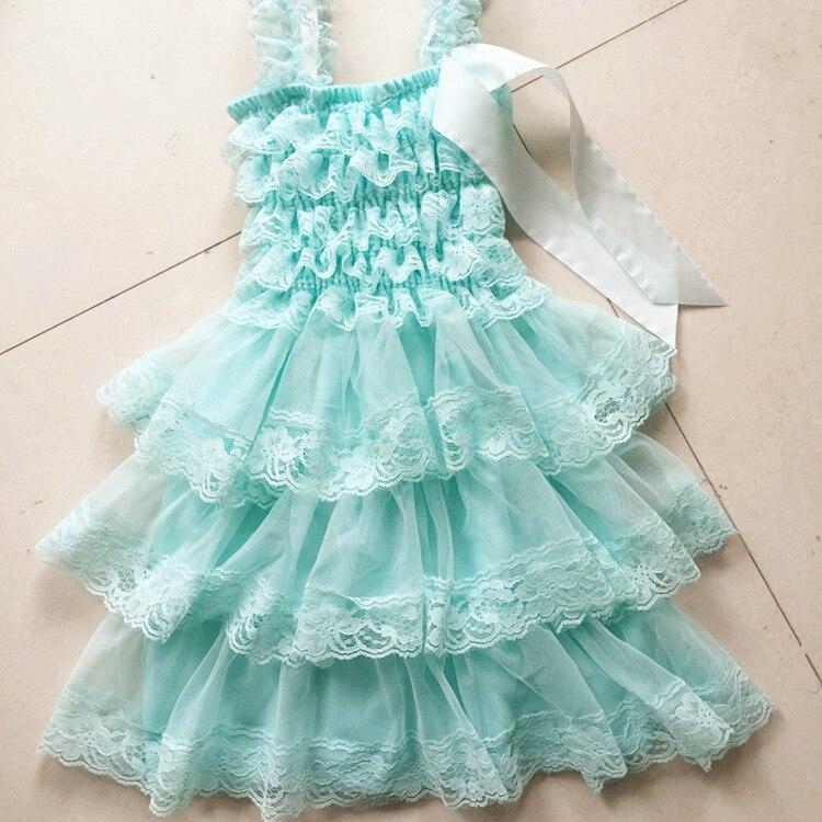 0de5e1393 24pcs lot DHL Free Aqua Ruffle Lace Chiffon Flower Dress Baby Dress ...