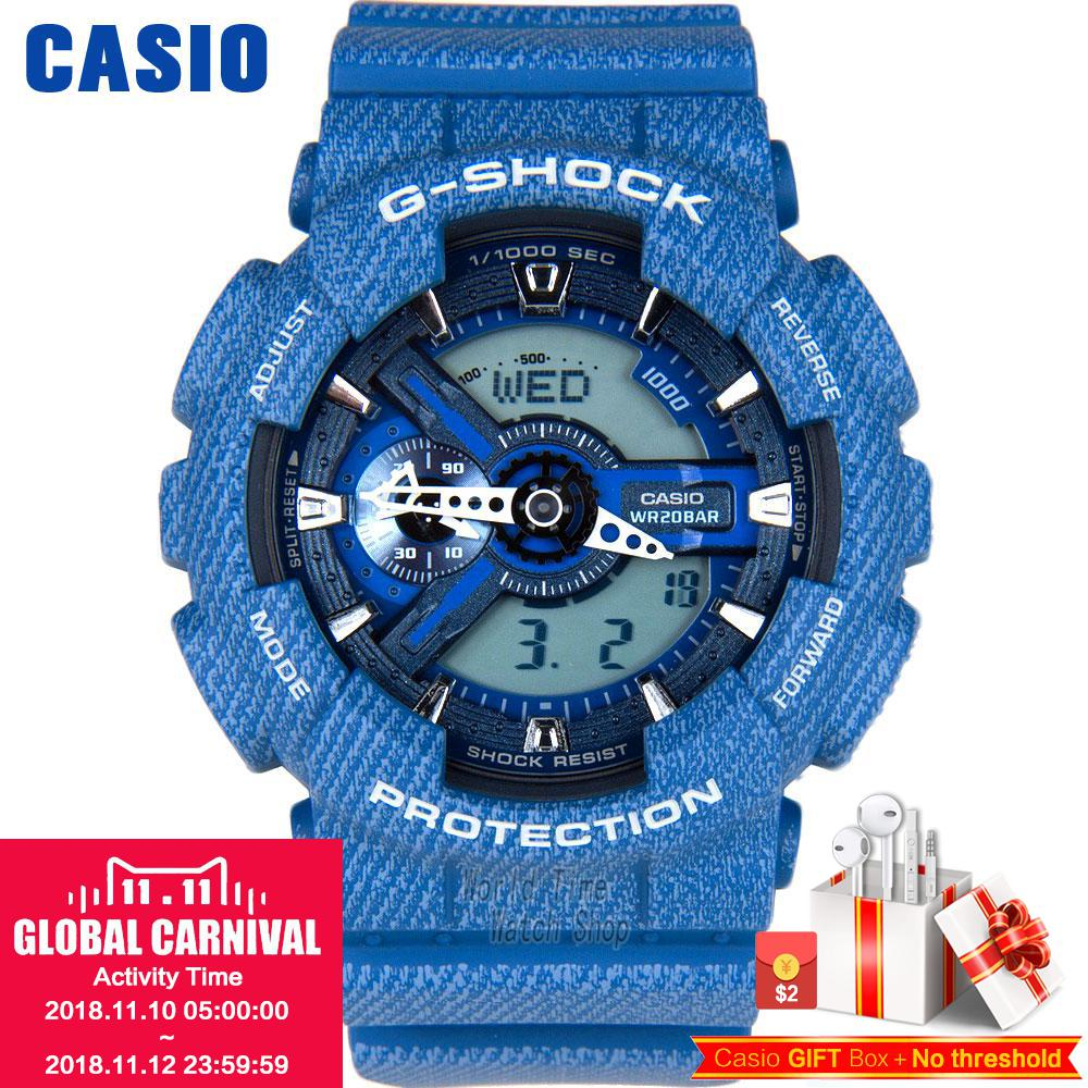 Casio watch G-SHOCK Men's quartz sports watch denim blue multi-function waterproof g shock Watch GA-110DC casio g shock g classic ga 100mm 3a