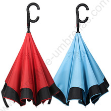 2pcs/lot 98cm auto open C-Hook self-defense reflective Windproof Reverse hand-free umbrella Double Layer Inverted stand parasol