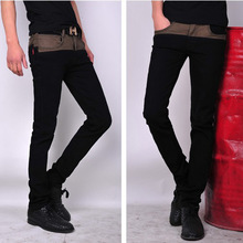 2015  new influx of male cat to be black stitching Slim feet stovepipe skinny jeans men