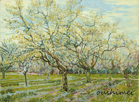 Reproduction Hand Painted Famous Artist Modern Abstract Oil Painting on Canvas Wall Artwork White Orchard Van Gogh Canvas Craft