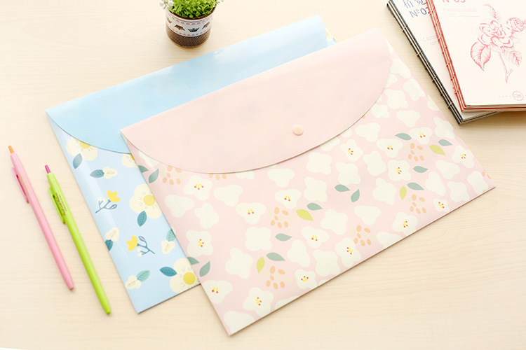 1PCS Durable Folder Snap Floral File Bag Paper A4 School Stationery Office Supplies PP Bag  File Folder