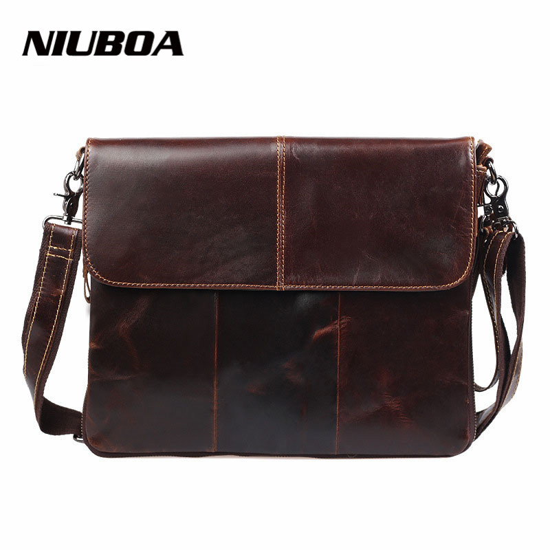 100% Genuine Leather Shoulder Bag Leisure Men's Bag Business Portable Messenger Briefcase Top Cowhide Slim Shoulder Bag top layer genuine cow leather cowhide shoulder leisure men s bag business messenger portable briefcase laptop casual purse
