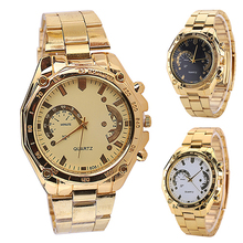 2015 New Arrival Womens Mens Golden Color Stainless Steel Band Analog Quartz Sport Wrist Watch