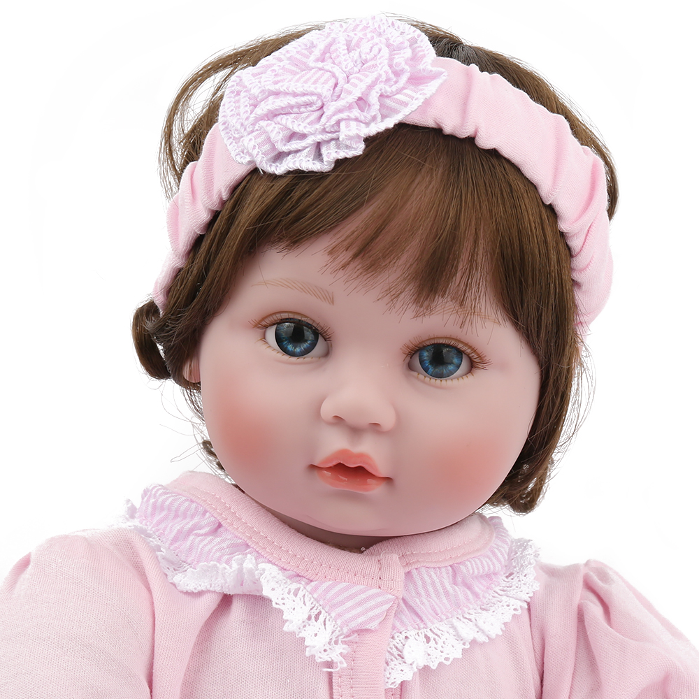 NPKDOLL Reborn Dolls Baby 22 Inch Pink Clothes Toys For Girls Kids Cute Beautiful Gifts for Children Educational Christmas Gift