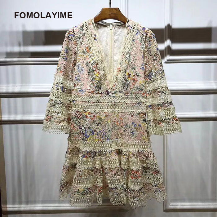 FOMOLAYIME V Neck Dresses Women 2018 European New Style Hollow Out Print Flare Sleeve Dress Robe Femme