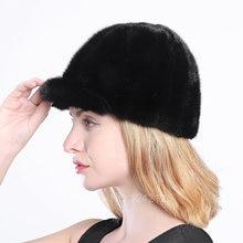 Новый Осень Зима родитель-ребенок женщин девочка мальчик дети мех норки шляпа теплый роскошный реального норки мех женщин меха бейсбольная кепка шляпа
