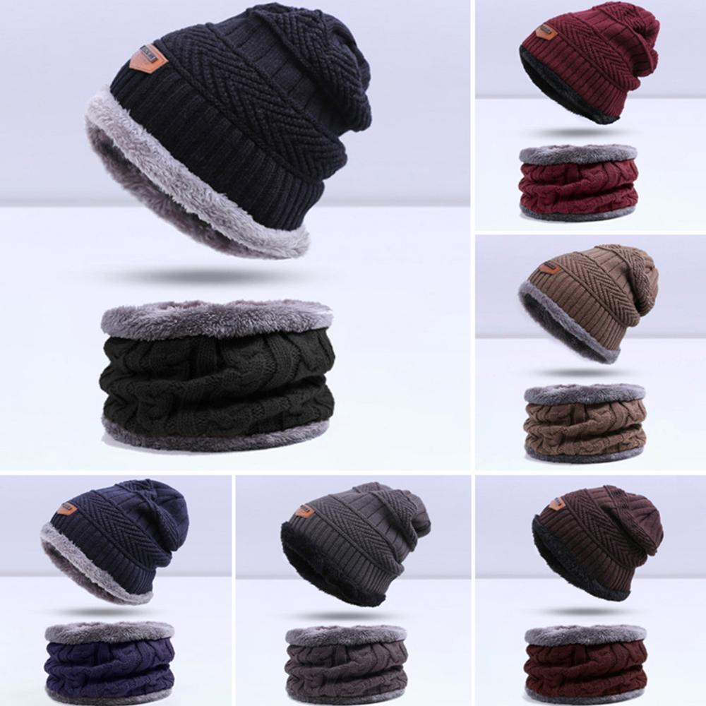 Winter Hat Men Outdoor Accessories Hat Scarf Two-piece Men Solid Color Warm Hat Scarf Suit With Signs 6 Colors