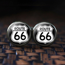 Route 66 Silver Plated Men Fashion Cufflinks Personalized Peace Symbol Shirt Cuff Links Wedding for Husband