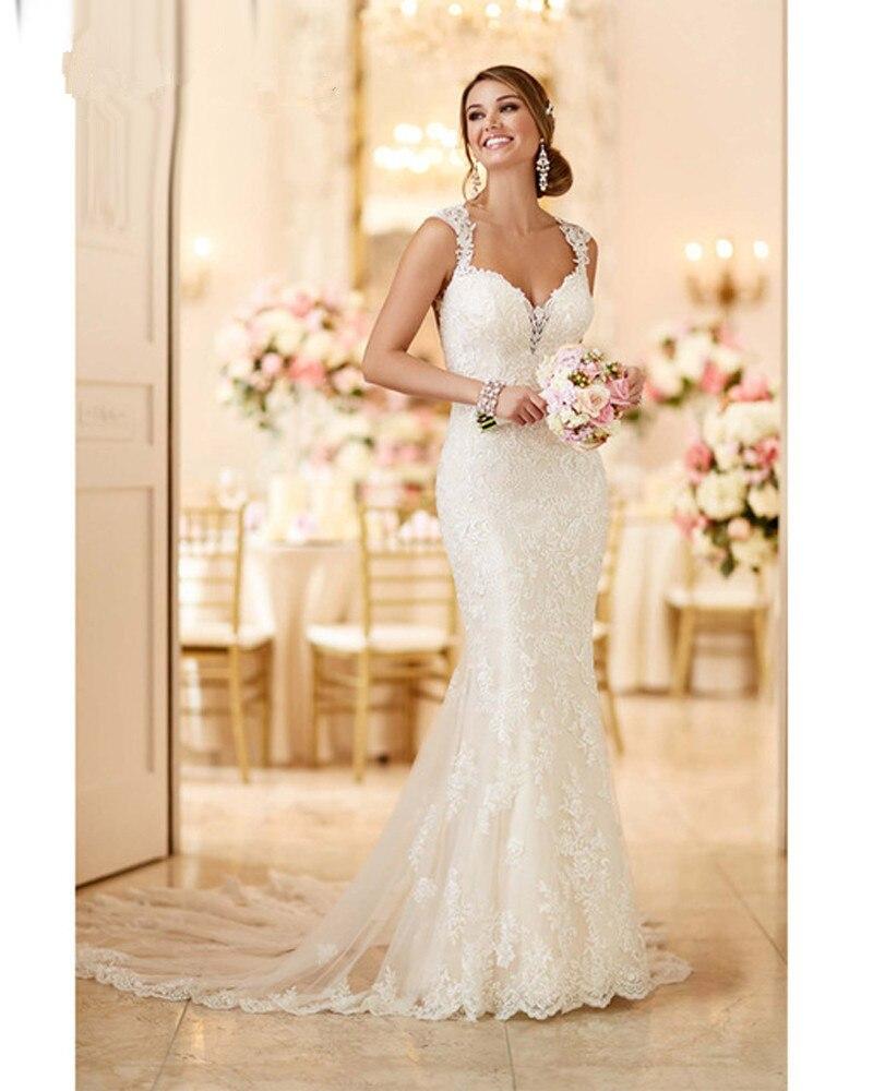 Robe de mariée sirène Vintage o-cou Appliques plage robe de mariée en mousseline de soie princesse Boho robe de mariée 2019