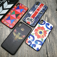 Italy Luxury metal logo case for iphone X XS MAX XR 8 7 6 6S plus soft silicon phone cover leather bee Crown coque funda capa