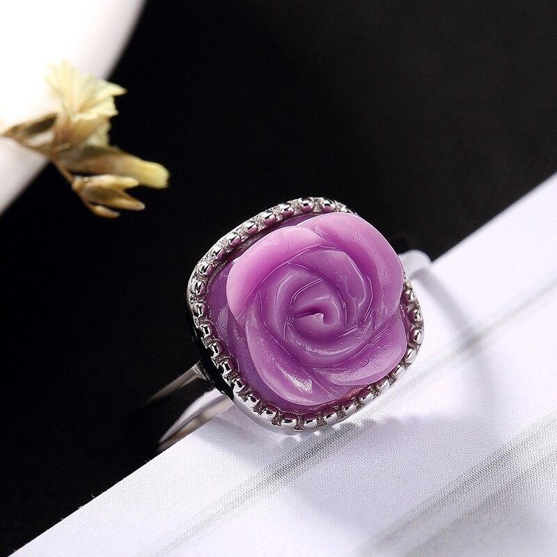 S925 чистого серебра, фиолетовый mica инкрустированные розовое кольцо, Корейская версия, простой темперамент, дамская открытия кольца оптом.