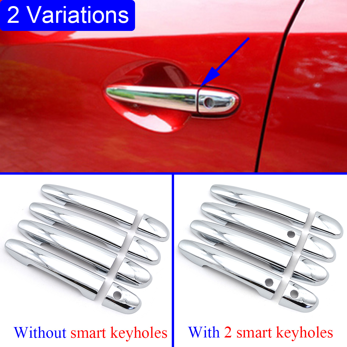 Chrome Door Handle Moulding Protect Cover Trim Fit For <font><b>Mazda</b></font> <font><b>CX5</b></font> CX-5 KF <font><b>Accessories</b></font> 2017 2018 <font><b>2019</b></font> Parts Decoration image