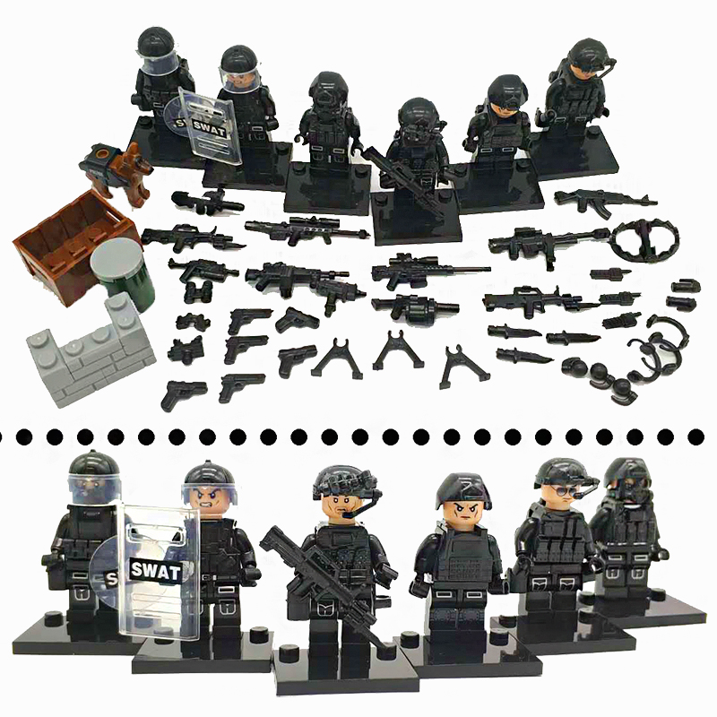 HOT 6pcs SAWT personnel Modern military special police commando special forces weapons building blocks toy Compatible LegoINGlys 6pcs swat special forces police the wraith assault cs with motorcycles weapons figures building blocks bricks toys for kids