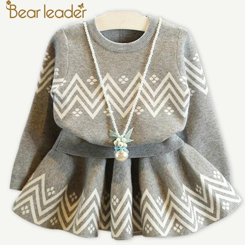 Bär Führer Mädchen Kleid 2018 Winter Geometrische Muster Kleid Langarm Mädchen Kleidung Top Mantel + Tutu Kleid Pullover Strickwaren 2 stücke