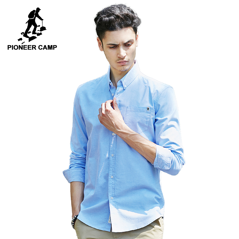 Pioneer Camp solid casual shirt men brand clothing long sleeve shirt male top quality pure cotton plus size white blue grey spring outfits for kids