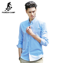 パイオニアキャンプ固体カジュアルシャツ男性ブランド服長袖シャツ男性トップ品質純粋な綿プラスサイズ白青グレー