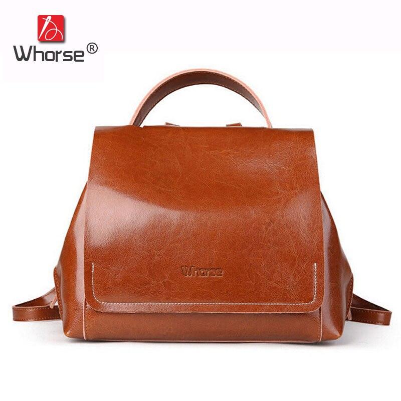 [WHORSE] Famous Brand Backpack Women Genuine Leather Backpacks For Teenage Girls Real Cowhide Vintage Shoulder Bags W09180