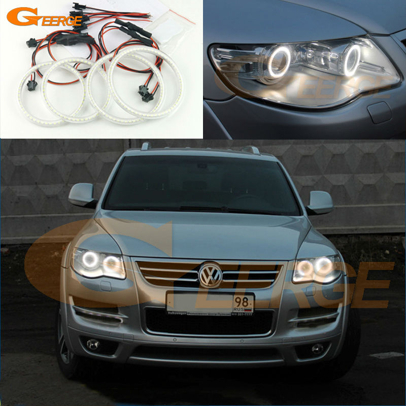 For Volkswagen VW Touareg 2007 2008 2009 2010 Bi-Xenon headlight Excellent led angel eyes Ultra bright smd led Angel Eyes kit for land rover freelander lr2 2007 2008 2009 2010 xenon headlight excellent ultra bright illumination smd led angel eyes kit