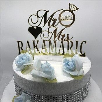 送料無料パーソナライズmr mrsダイヤモンドウェディングケーキトッパーウェディングデコレーションカスタムウェディング最後の名前と日付ケーキトッパー