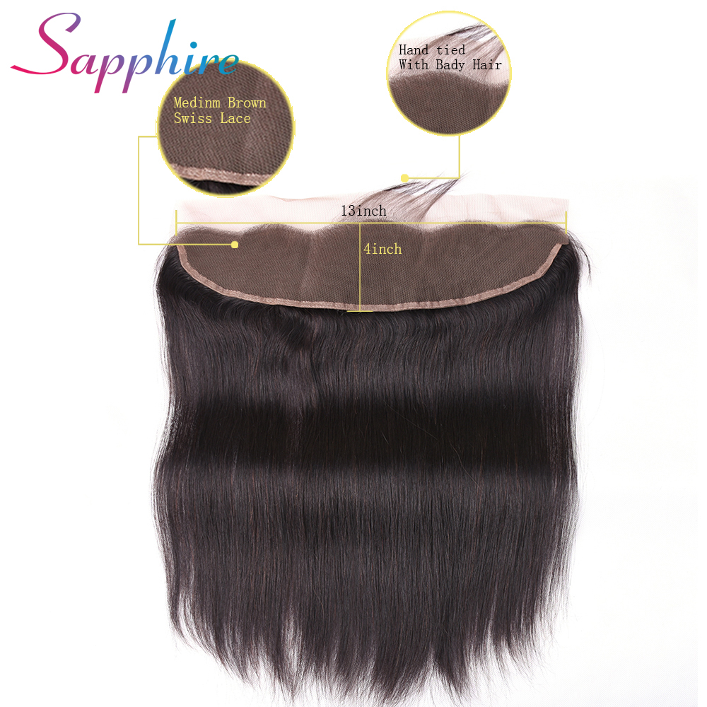 Sapphire Peruvian lace frontal closure straight hair 13x4 free part ear to ear 130% density NonRemy hair free shipping 8-22inch