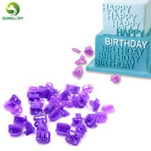 40PCS Fondant Cutter Cake Decorating Tools DIY Plastic Cupcake Mold Upper Alphabet Capital Letters Number Cut-Outs Cookie