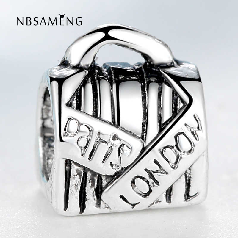 Free shipping Silver Plated bead Charm Antique Paris & London Handbag Beads Fit Women pandora Bracelet & Bangle DIY Jewelry H511