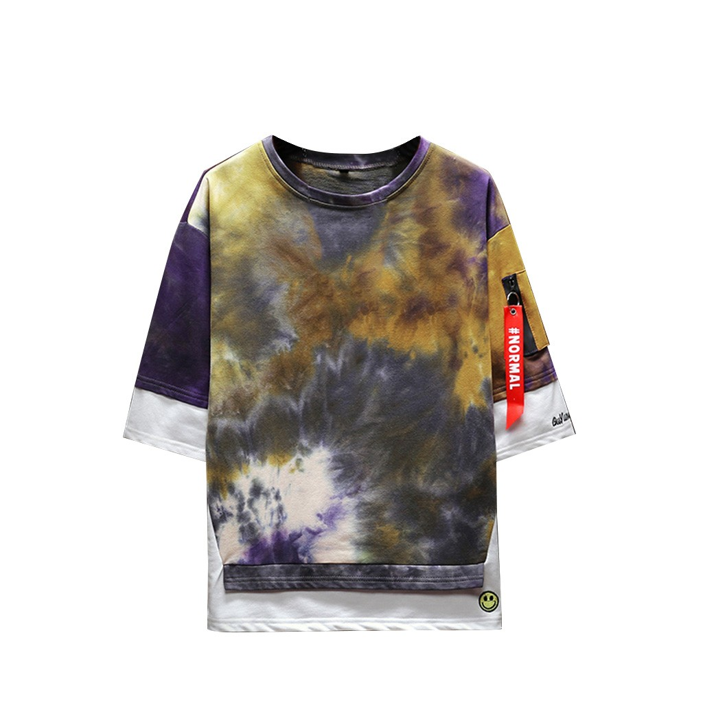 2019 New Hot Men Summer New Style Fashion Printed Tie-Dyed Fake Two Comfortable Top M-5XL Instyle Vetements de mode pour hommes 8