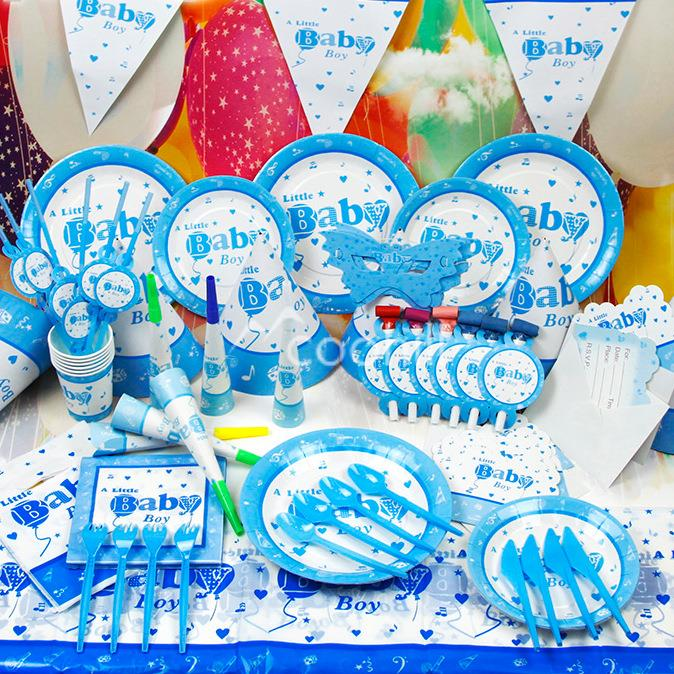 90pcs Set A Little Baby Boy Birthday Party Decorations Event Supplies Favors Children Kids Boys Theme